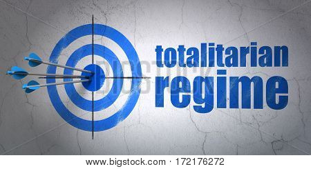 Success politics concept: arrows hitting the center of target, Blue Totalitarian Regime on wall background, 3D rendering