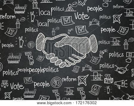 Political concept: Chalk White Handshake icon on School board background with  Hand Drawn Politics Icons, School Board