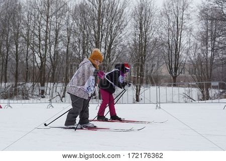 ST. PETERSBURG, RUSSIA - FEBRUARY 11, 2017: Children participating in the mass ski race Ski Track of Russia during the competition. The race is held annually since 1982