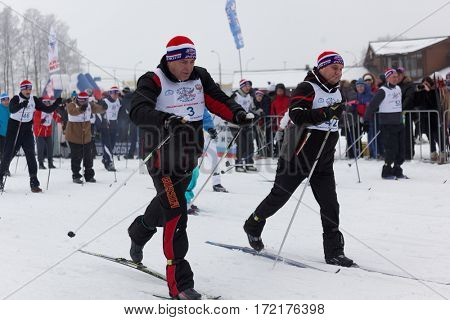 ST. PETERSBURG, RUSSIA - FEBRUARY 11, 2017: People on the start of the mass ski race Ski Track of Russia. The race is held annually since 1982