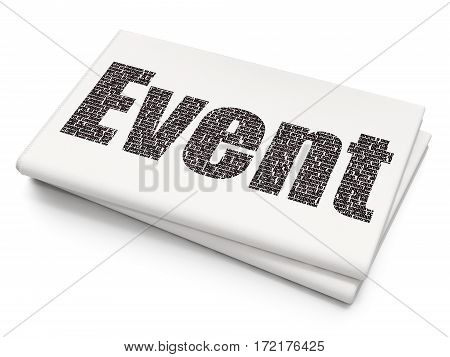 Entertainment, concept: Pixelated black text Event on Blank Newspaper background, 3D rendering
