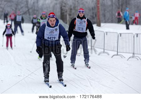 ST. PETERSBURG, RUSSIA - FEBRUARY 11, 2017: People participating in the mass ski race Ski Track of Russia during the competition. The race is held annually since 1982