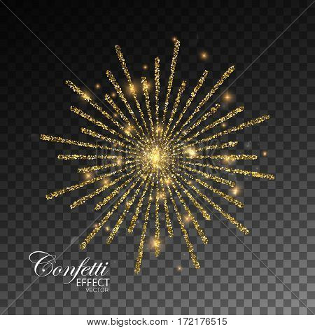 Fireworks isolated on transparent checkered background. Glowing explode of sparkling particles. Sparkling glitters burst. Decoration holiday element for design. Festive ornament