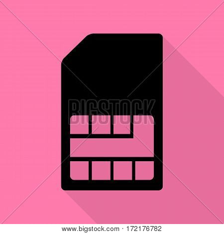 Sim card sign. Black icon with flat style shadow path on pink background.
