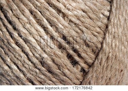 Closeup of a coil of hemp twine