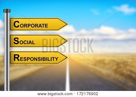 CSR or Corporate Social Responsibility words on yellow road sign with blurred background