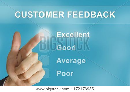 business hand clicking customer feedback button on screen