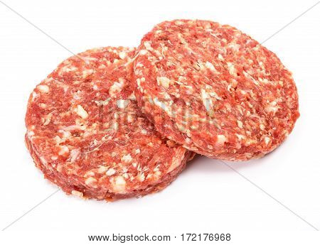 Raw Beef Hamburger Meat On White Background