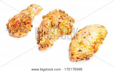 Marinated Chicken Wing Parts On White Background