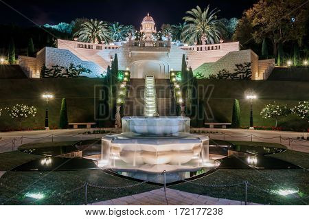Temple In Bahai Garden In Haifa, Israel At Night