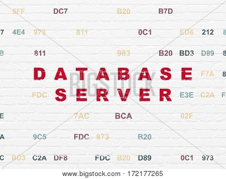Software concept: Painted red text Database Server on White Brick wall background with Hexadecimal Code