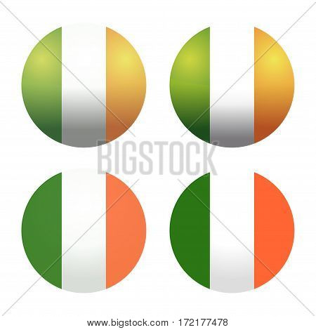 Set round Irish flags. Round Ireland flags. Ireland flag button. Flags of Ireland as round glossy icon. Buttons with Irish flag. Vector Irish flags isolated on white background