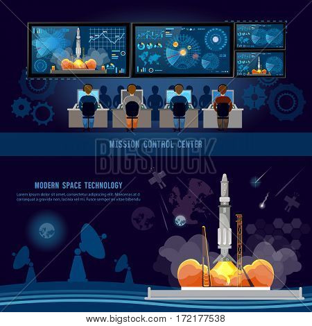 Mission Control Center start rocket in space. Space shuttle taking off on mission future spaceport. Modern space technologies return report of start of rocket