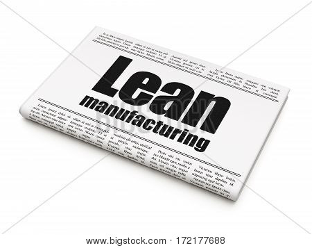 Manufacuring concept: newspaper headline Lean Manufacturing on White background, 3D rendering