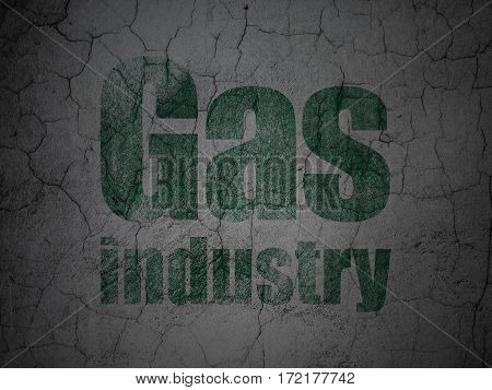 Manufacuring concept: Green Gas Industry on grunge textured concrete wall background