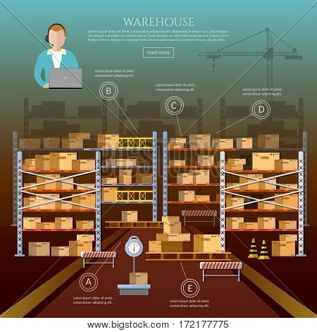 Warehouse interior box on rack and warehouse building. 24 hour logistic and delivery service concept