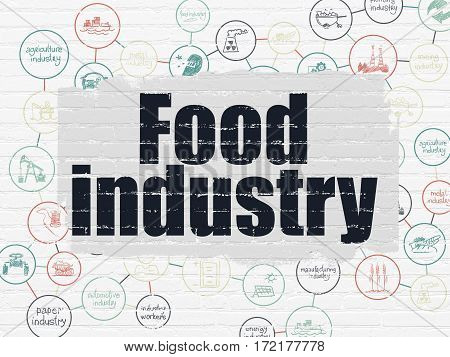 Manufacuring concept: Painted black text Food Industry on White Brick wall background with Scheme Of Hand Drawn Industry Icons