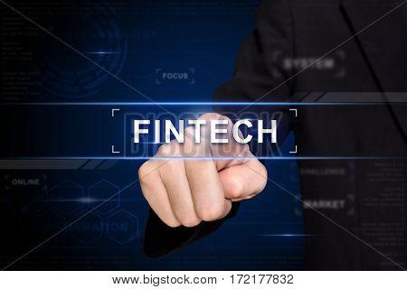 business hand clicking fintech button on virtual screen