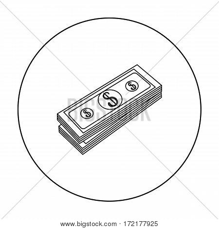 Stack of money icon in outline style isolated on white background. Money and finance symbol vector illustration.