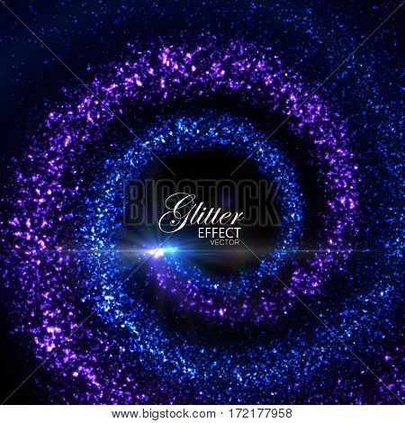 Magic glowing trails of particles. Vector illustration of blue spiral traces. Festive whirlpool of glitters. Stream of sparkling particles with flash and light rays. Decoration element for design.