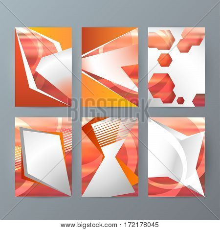 Set Of A4 Brochure Design Templates With Geometric Abstract Modern Backgrounds04