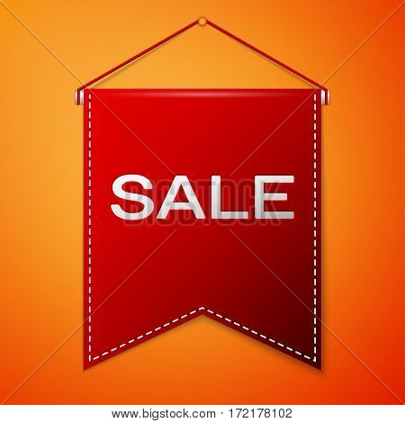 Red pennant with inscription SALE over a orange background. Sale concept for shops store market, web and other commerce. Vector illustration.