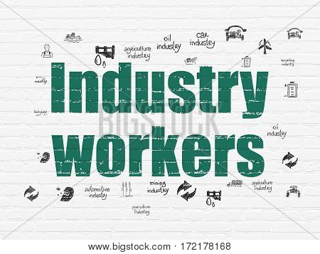 Manufacuring concept: Painted green text Industry Workers on White Brick wall background with  Hand Drawn Industry Icons