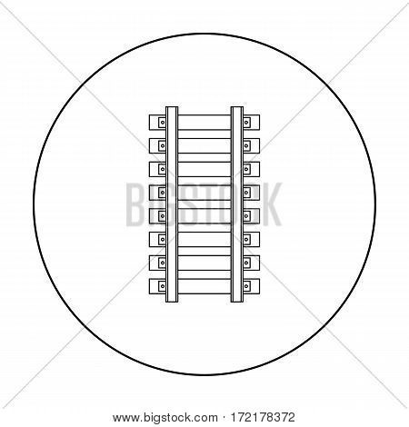 Mine railway icon in outline style isolated on white background. Mine symbol vector illustration.