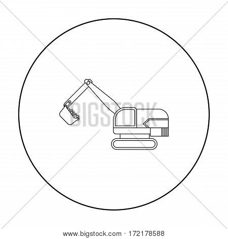 Excavator icon in outline style isolated on white background. Mine symbol vector illustration.