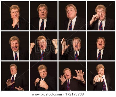 The collage from different mature man face expressions on black background