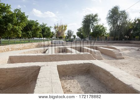 Settlement ruins and remains at the Hili archaeological park in Al Ain. Emirate of Abu Dhabi United Arab Emirates