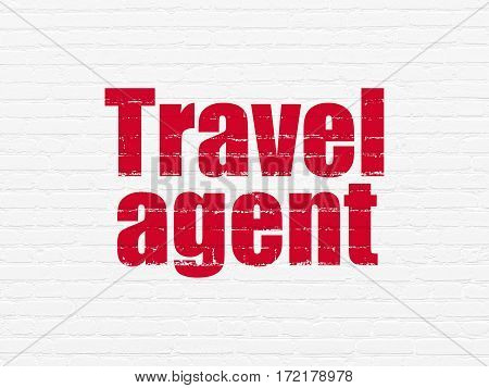 Vacation concept: Painted red text Travel Agent on White Brick wall background