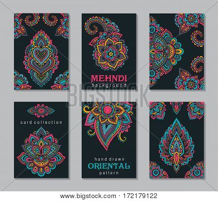 Set of six cards or flyers with abstract henna mehndi ornament. Decorative colorful pattern with ornate texture, tribal ethnic oriental motif. Vector illustration