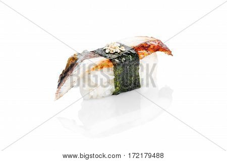 Sushi with eel, rice, nori on a white background