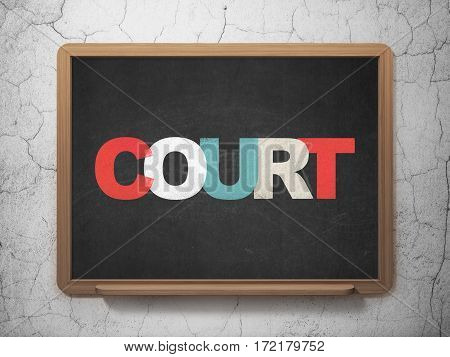 Law concept: Painted multicolor text Court on School board background, 3D Rendering