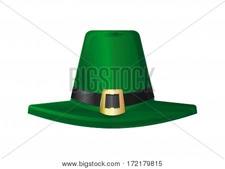 St. Patrick's Day hat. Green leprechaun hat. Design element to St. Patrick's Day. Realistic vector illustration. Vector icon