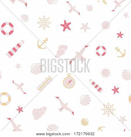 Vector flat sea seamless pattern background. Cute template with seashell seagull bird lighthouse lifebuoy starfish anchor and ocean waves.