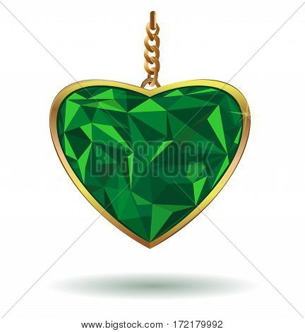 Love Heart Emerald Gemstone. Emerald heart in a gold frame. Vector illustration