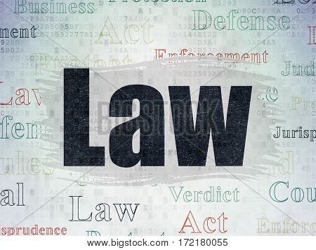 Law concept: Painted black text Law on Digital Data Paper background with   Tag Cloud