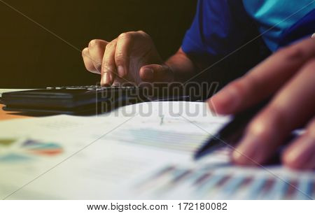 Woman Doing Finance And Calculate Expense On Desk At Home.