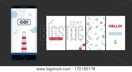 Vector flat ocean background. Modern UI GUI screen vector design for mobile app with UX and flat web icons. Cute template in marine theme