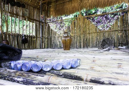 Raglan Tribe Hut. Vietnam. Interior Inside A Wooden House.