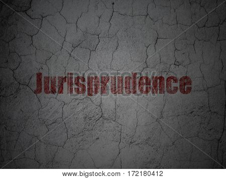 Law concept: Red Jurisprudence on grunge textured concrete wall background