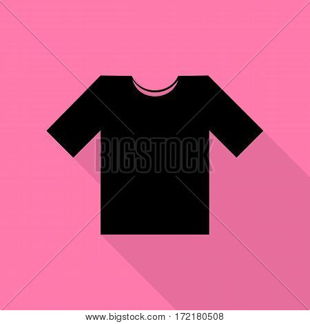 T-shirt sign illustration. Black icon with flat style shadow path on pink background.