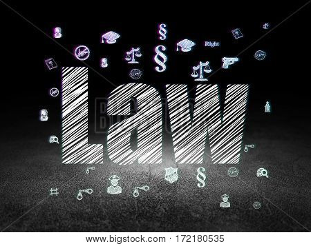 Law concept: Glowing text Law,  Hand Drawn Law Icons in grunge dark room with Dirty Floor, black background