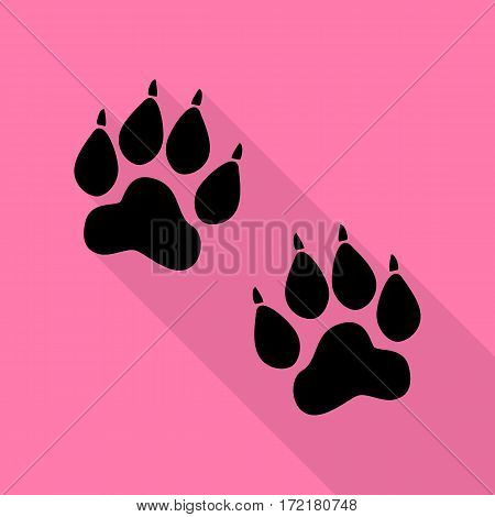 Animal Tracks sign. Black icon with flat style shadow path on pink background.