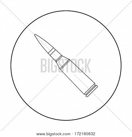 Military rifle bullet icon in outline style isolated on white background. Military and army symbol vector illustration