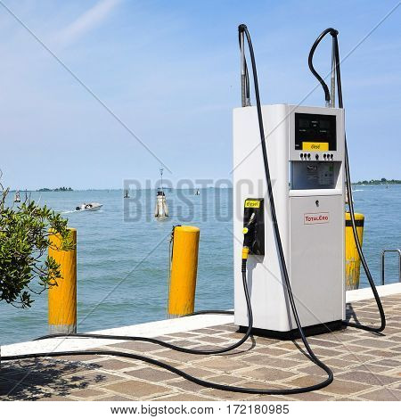 Venice, Italy, June - 21, 2016: boat petrol station in Venice, Italy