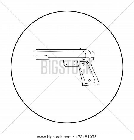 Military handgun icon in outline style isolated on white background. Military and army symbol vector illustration