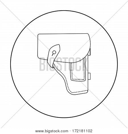 Army handgun holster icon in outline style isolated on white background. Military and army symbol vector illustration